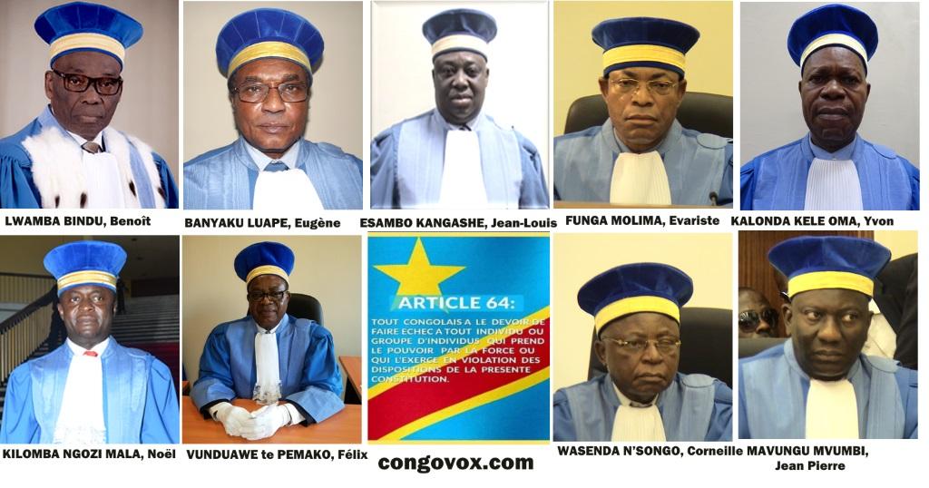 Les 9 membres de la cour Constitutionnelle de la RDC