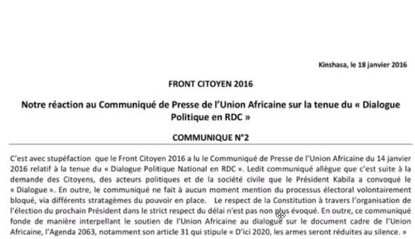 Front Citoyen 2016 RDC, Communique No2