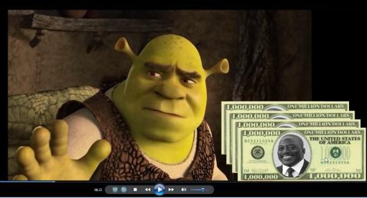 Shrek et l'Ane  sur les 4 millions $ débloqués et  1.5 millions $ disparus