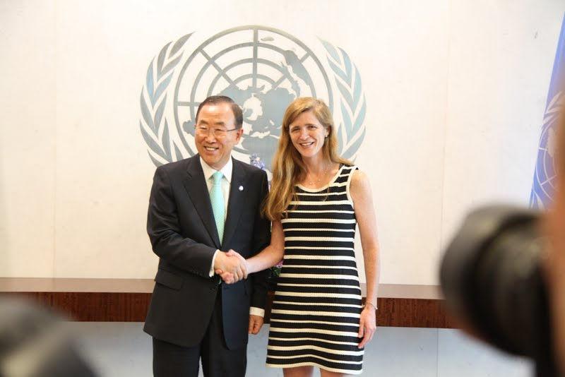 Ban Ki-moon et Samantha Power