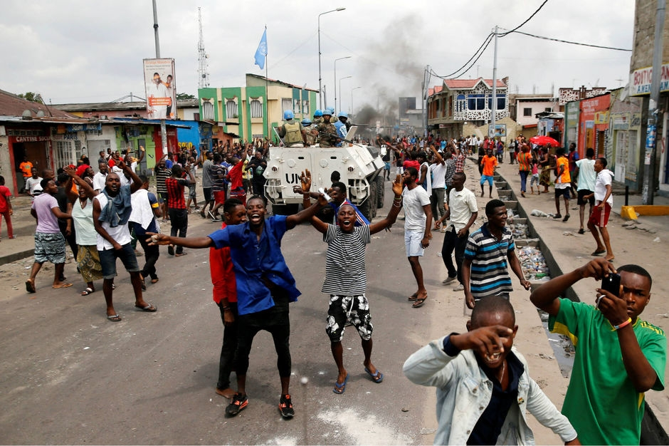 A Kinshasa, le 20 décembre 2016 manifestations contre le président sortant Joseph Kabila en présence des casques bleus. Thomas Mukoya / Reuters