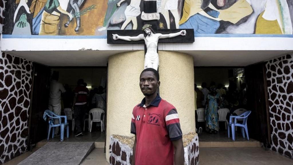Messe à Kinshasa, avant un défilé anti-Kabila, le 21 janvier 2018. John Wessels/AFP