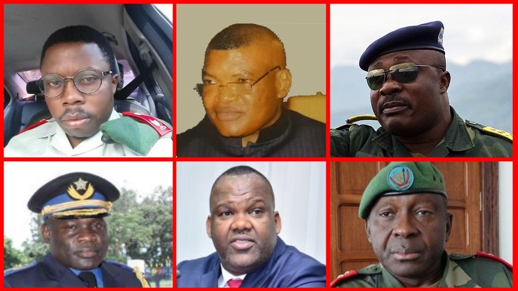 (de Gauche à Droite) Général Delphin Kahimbi; Général Jean Claude Yav; Kalev Mutond; Général John Numbi; Corneil Naanga; Général François OLENGHA