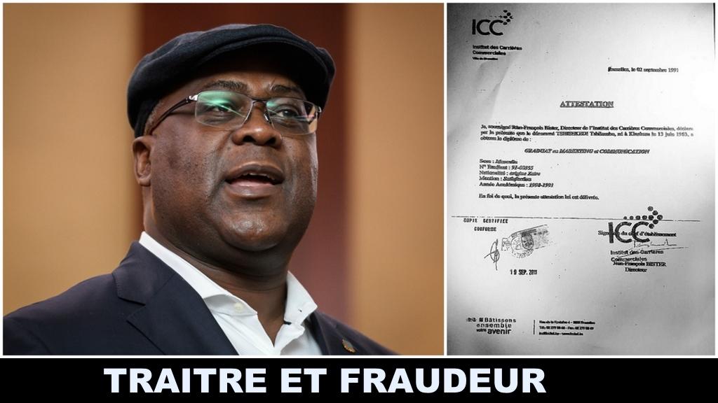 Felix Tshisekedi; Traitre et Fraudeur