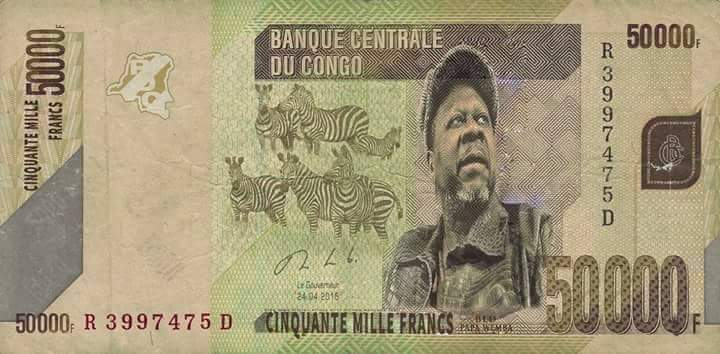 Papa Wemba sur le Franc Congolais de 50.000 F