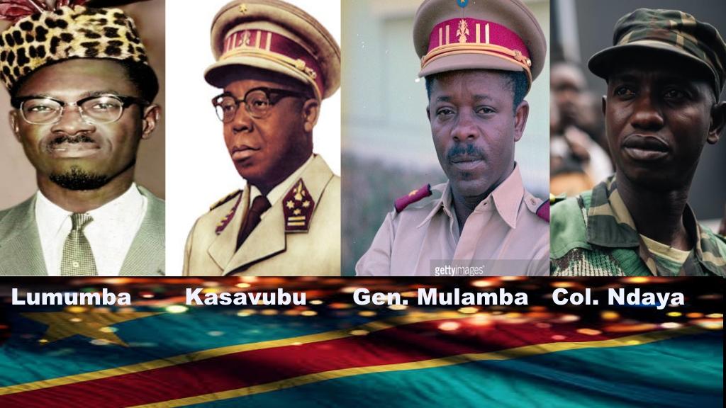 Patrice Lumumba, Joseph Kasavubu, Gen. Mulamba, Colonel Mamadou Ndaya