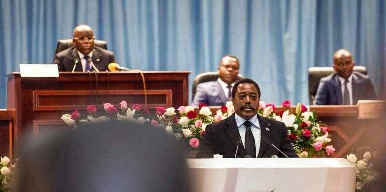 Le président congolais, Joseph Kabila, lors d'un discours à la nation, au palais du Peuple, siège du Parlement, le 5 avril 2017, à Kinshasa.