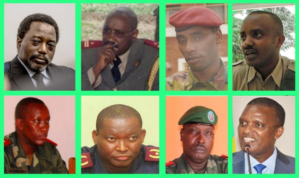 (De gauche à droite) Joseph Kabila, Général Jean Bivegete, Général Malick Kijege, Général Obed Rwibasira, Général Masunzu , Général Charles Bisengimana, Général Mustapha Mukiza, Azarias Ruberwa