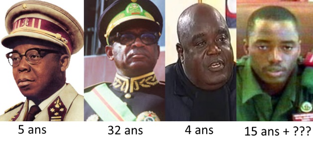 Joseph Kasavubu, Joseph Désiré Mobutu, Laurent Désiré Kabila et Joseph Kabila