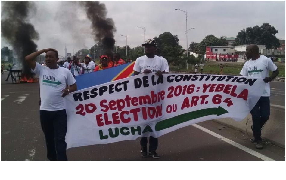 Des activistes pro-démocratie manifestent contre les reports des élections, à Kinshasa, capitale de la République démocratique du Congo, le 19 septembre 2016