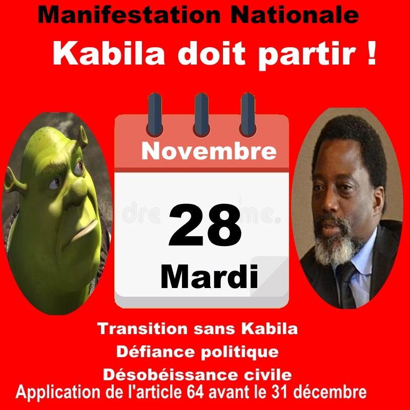 Kabila doit Partir - Manifestation Nationale du 28-11-2017