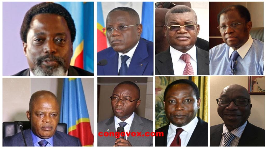 Joseph Kabila, Aubin Minaku, Nehemie Mwilanya, Kalev Mutond, Mova Sakania, Alexis Tambwe Mwamba, Mbuyu Luyongola et Evariste Boshab