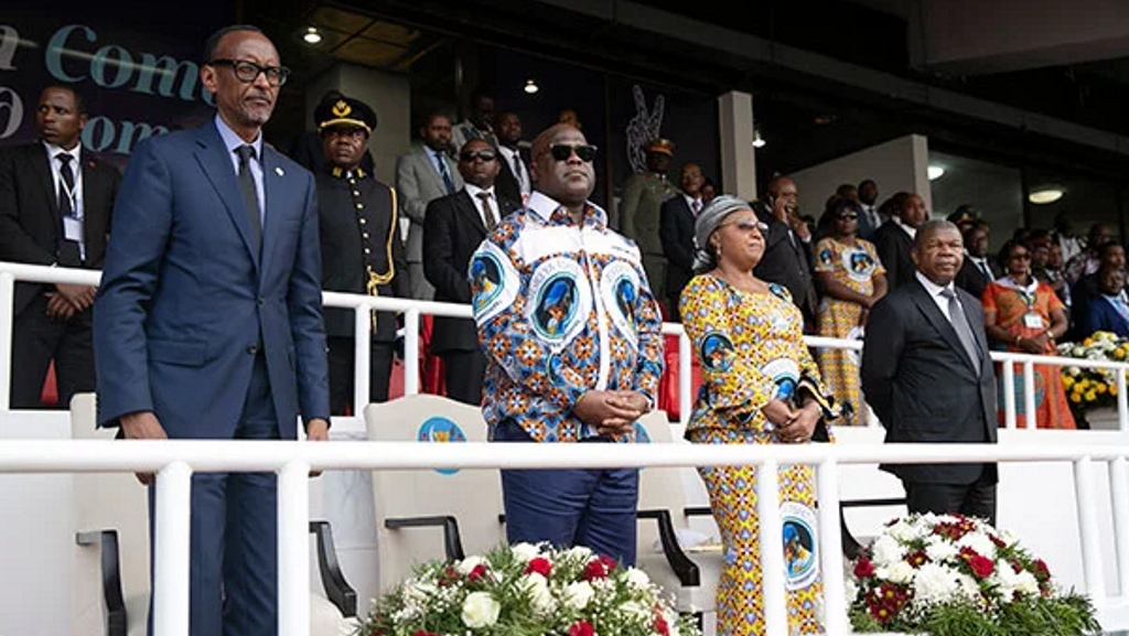 De gauche à droite: le président rwandais Paul Kagame, le président congolais Felix Tshisekedi, Denise Tshisekedi (Première dame de la RD Congo) et le président angolais João Lourenço lors d'une messe de funérailles pour le vétéran leader de l'opposition Etienne Tshisekedi à Kinshasa le 31 mai 2019. PHOTO | URUGWIRO