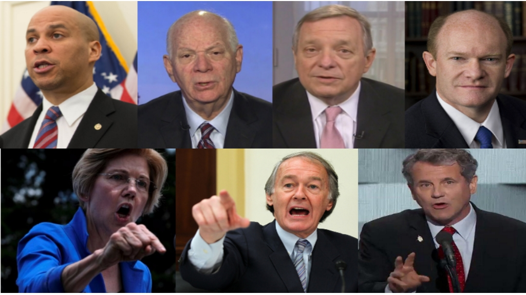 Cory Booker (D-NJ), Benjamin Cardin (D-MD), Richard Durbin (D-IL), Christopher Coons (D-DE), Elizabeth Warren (D-MA), Edward Markey (D-MA ), et Sherrod Brown (D-OH)