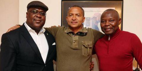 De gauche a droite: Felix Tshisekedi, Vital Kamerhe et Moise Katumbi