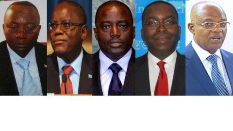 Néhémie Mwilanya Wilondja , Aubin Minaku, Joseph Kabila, Matata Mponyo et Evariste Boshab