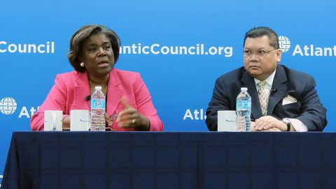 Atlantic Council, Africa Center Director J. Peter Pham with Assistant Secretary Thomas-Greenfield. Peter Pham