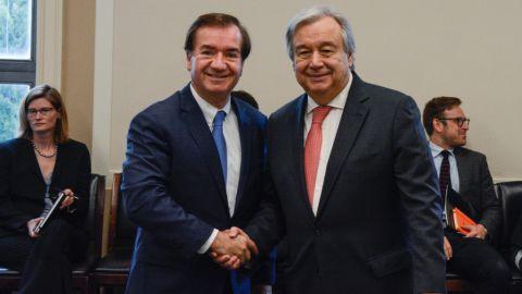 Le président de la Commission des Affaires Etrangères de la Chambre du Congres Américain, Ed Royce (R-CA),  le Secrétaire Général des Nations unies, Antonio Guerres