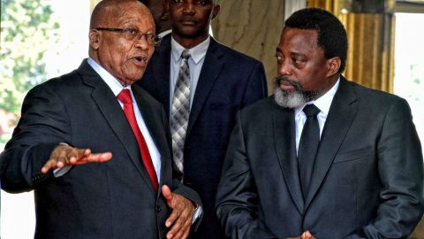 President Jacob Zuma and President Joseph Kabila Kabange holding talks at the Presidential Palace in Kinshasa, during President Zuma's working visit to the Democratic Republic of Congo (DRC). 15/10/2017, Elmond Jiyane, GCIS