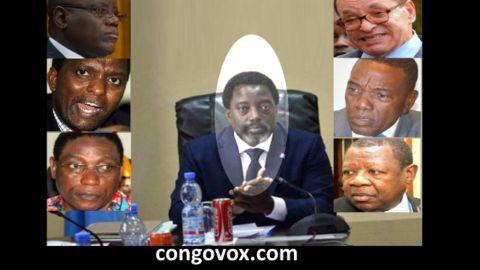Aubin Minaku, Azarias Ruberwa, Henri Mova, Joseph Kabila (centre), Leon Kengo wa Dondo, Alain Atundu et Lambert Mende