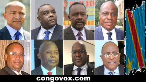Moise Katumbi, Jean-Pierre Bemba, Frank Diogo, Martin Fayulu, Maitre Muyambo, Vital Kamerhe, Felix Tshisekedi, Valentin Mubake